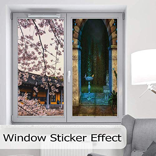 YOLIYANA Control Heat and Anti UV Window Cling,Gothic,Reduce Heat, Glare and Block Out Harmful UV Rays,Forest Landscape from Ancient Archway Birds on Fountain,24''x48''