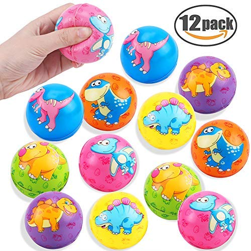 Stress Ball 12 Pack Dinosaur Stress Relief Balls Squeeze Toy Balls Hand Finger Wrist Exercise Toy Party Favors for Anxiety Kids Children Adults