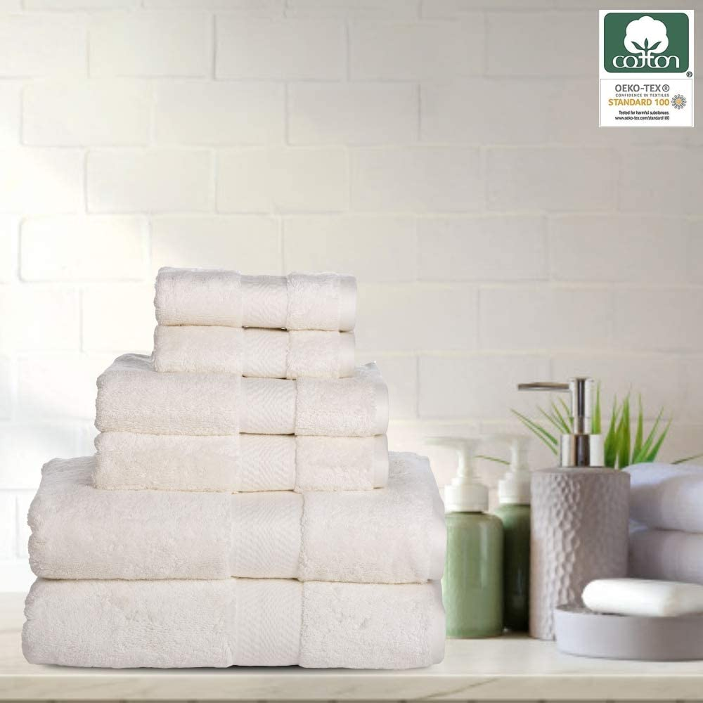 Chateau Home Collection 100% Cotton Bath Towels Zero Twist Extra Soft Premium Spa Quality Super Absorbent Fluffy Hotel Bathroom Shower Beach (6 Piece Luxury Bath Towel Set, Ivory)