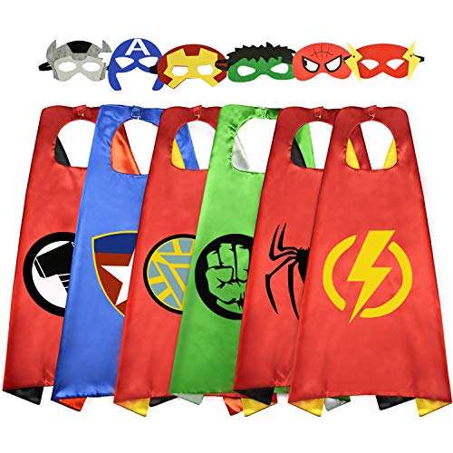 Easony Birthday Presents Gifts for 3-10 Year Old Boys, Cartoon Super Hero Satin Capes Dress up for Kids Party Favor Toys for 3-10 Year Old Boys ESUSCP06 ()