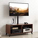 TAVR Wood Media TV Stand Storage Console with Swivel Mount Height Adjustable Entertainment Center for 32 42 50 55 60 65 inch Plasma LCD LED Flat or Curved Screen TV Shelf Storage Cabinet,Walnut,TW4002