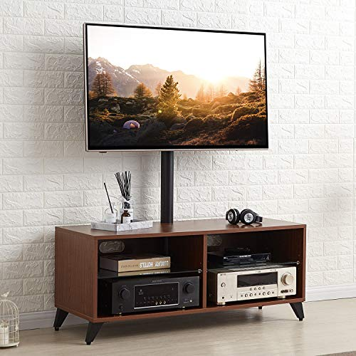 TAVR Wood Media TV Stand Storage Console with Swivel Mount Height Adjustable Entertainment Center for 32 42 50 55 60 65 inch Plasma LCD LED Flat or Curved Screen TV Shelf Storage Cabinet,Walnut,TW4002 ()