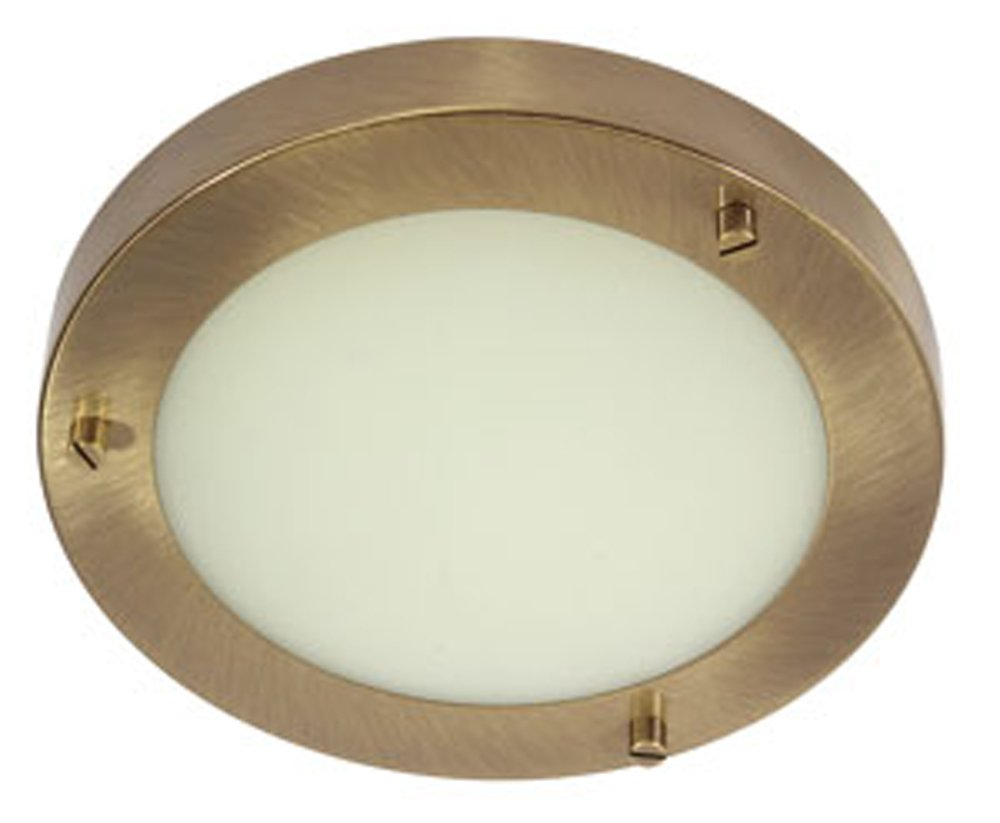 Rondo Bathroom Ceiling Fitting Antique Brass Finish G9 Bulb Oaks Lighting RONDO AB