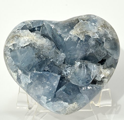 3.25'' Celestite Geode Heart Natural Ice Sky Blue Druzy Crystals Cluster Sparkling Mineral Сelestine Stone - Madagascar + Acrylic Display Stand by HQRP-Crystal
