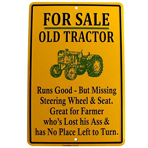 TG LLC for Sale Old Tractor Funny Metal Sign US Made Novelty Garage Shop Bar Wall Decor