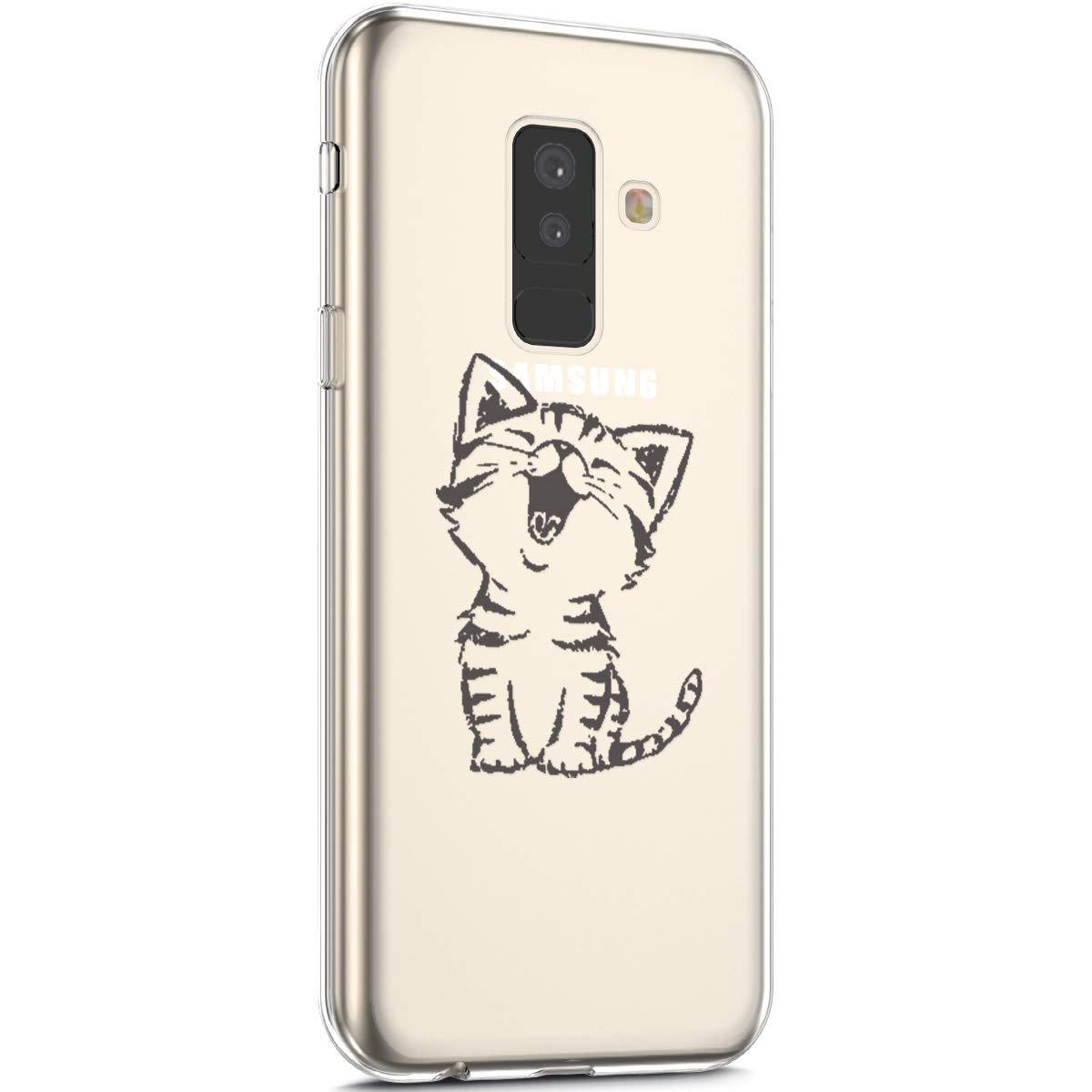 Surakey Cover Samsung Galaxy A6 Plus 2018, Custodia Silicone Trasparente con Disegni Fiore Ciliegio Sottile e Leggero Protettiva Skin Crystal Clear Cover per Galaxy A6 Plus 2018,Fiore Ciliegio Rosa
