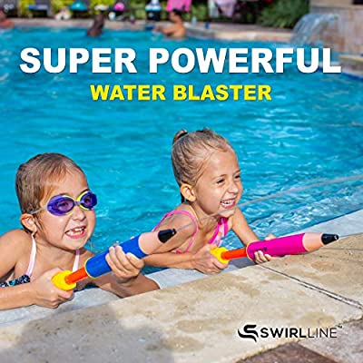 S SWIRLLINE Water Blaster Toy 2 Pack – Water Gun Soaker for Kids 13-19'' – Water Shooter Squirter for Summer Outdoor Party Pool Beach – Pump Gun – Pencil Shape (2PCS Round): Toys & Games