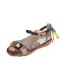 CQO Women Ethnic Beading Round Toe Colorful Casual Embroidered Cotton Shoes
