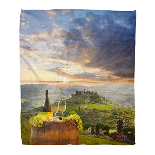 Emvency Throw Blanket Warm Cozy Print Flannel Red Food White Wine Barrel on Vineyard in Chianti Tuscany Italy Cheese Comfortable Soft for Bed Sofa and Couch 60x80 Inches from Emvency