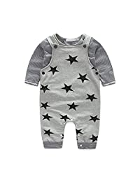 Meiruian Baby Boys Girls Soft T-Shirt and Rompers Pants Overalls 2-Piece Set