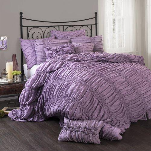 Lush Decor Madelynn 3-Piece Comforter Set, Queen, Purple
