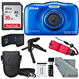 Nikon COOLPIX W100 Digital Camera (Blue) Basic Bundle with Floating Strap + 16 GB +Tripod + SD/SDHC Reader + Battery + Case + FiberTiqueCleaning Cloth