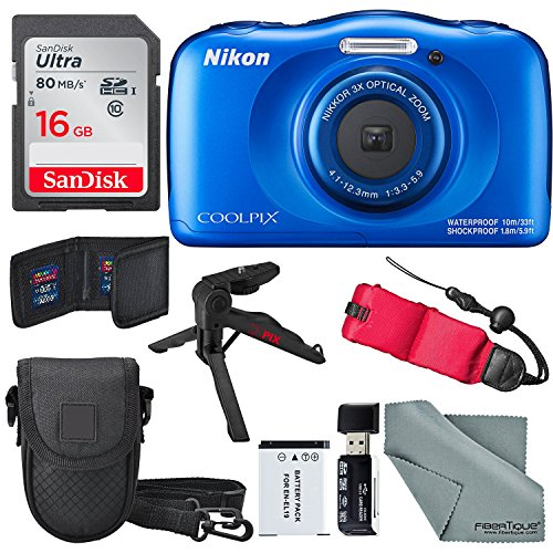 - Nikon COOLPIX W100 Digital Camera (Blue) Basic Bundle with Floating Strap + 16 GB +Tripod + SD/SDHC Reader + Battery + Case + FiberTiqueCleaning Cloth