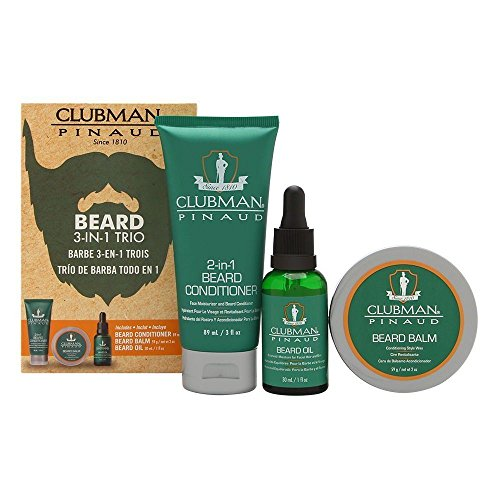 Clubman Beard 3 In 1 Trio: Beard Conditioner, Beard Balm, Be