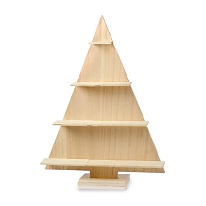 darice 30012975 wood christmas tree with shelves unfinished