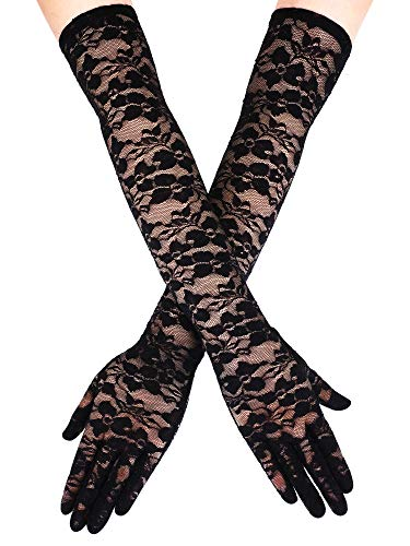 Sumind Lace Opera Gloves Fingerless UV Protection Gloves Summer Gloves for Women Girls (Black 8, Elbow -
