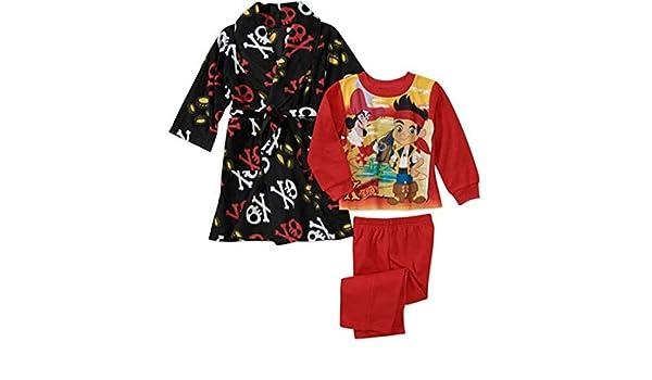 Disney Jake and The Never Land Pirates Boy 3 PC Bath Robe Pajama Set Size 4T