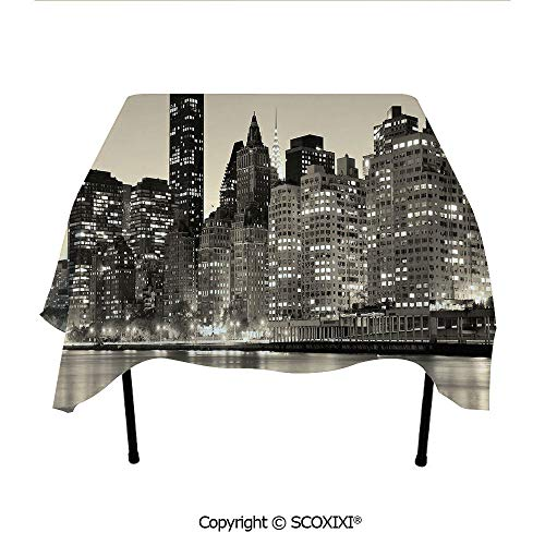 SCOXIXI Square Tablecloth Washable Polyester Fabric,Manhattan Skyline at Night East River Panoramic Famous City Urban Life in USA Decorative,W55XL55 Inches