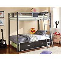 Furniture of America Terano Metal Twin-Over-Twin Bunk Bed, Silver and Gun Metal Finish