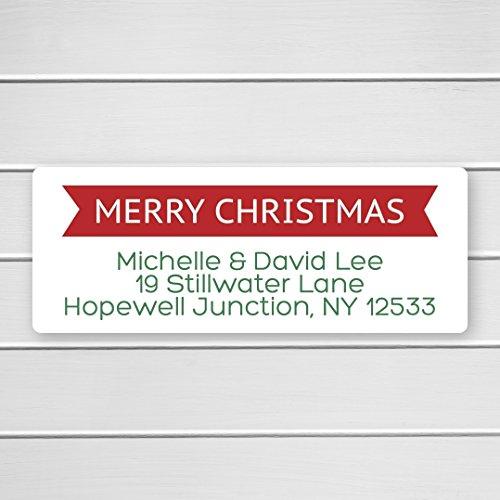 60ct - Merry Christmas Return Address Labels, Christmas Return Address Stickers, Holiday Address Stickers ()