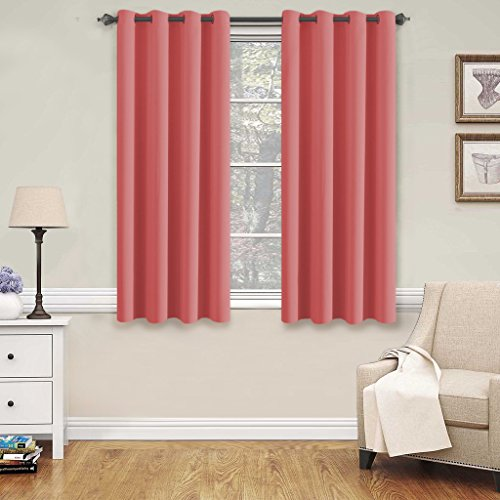 Blackout Room Darkening Grommet Curtain Panels 52 inch wide by 63 inch long – Decorative Curtains by H.Versailtex (Strawberry Pink)
