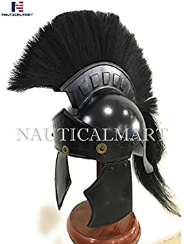 Casco NAUTICAL MART Roman Greco Negro Plume Wearable Halloween disfraz