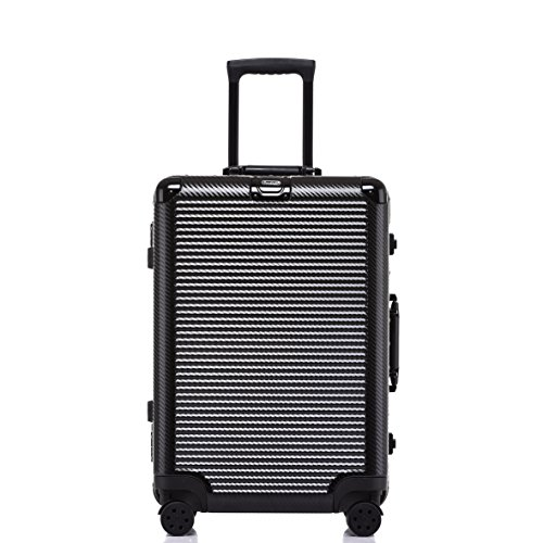 Weekender Traveler Short - Aluminum Frame Checked Luggage, Durable PC Hardshell TSA Lock Suitcase with Spinner Wheels 28 Inch Black