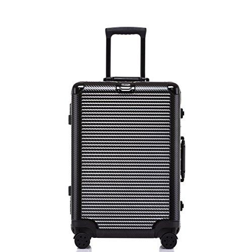 ed Luggage, Durable PC Hardshell TSA Lock Suitcase with Spinner Wheels 28 Inch Black ()