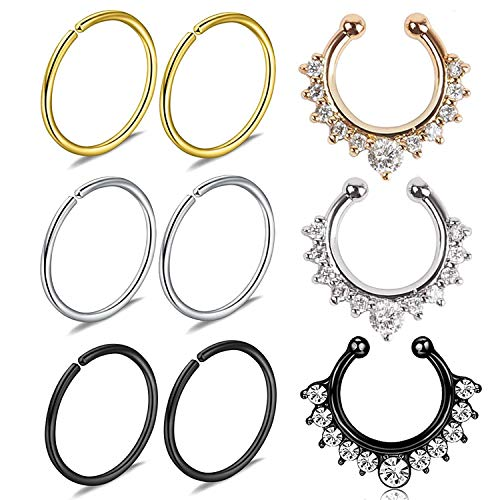 Piercing Clip - JININA Fake Nose Rings Hoop-20G Stainless Steel Faux Septum Lip Helix Cartilage Tragus Earring Clip Hoop Rings 10mm for Body Piercing