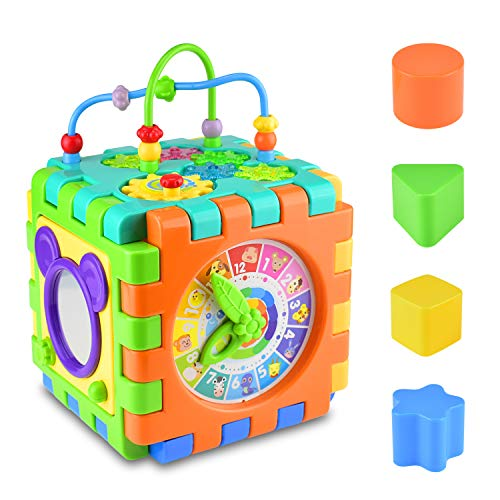 Alcoon Activity Cube 6 in 1 Multipurpose Play Center for Kids Toddlers Busy Learner Cube with Shapes Maze Music Gears Clock Educational Game Toys ()