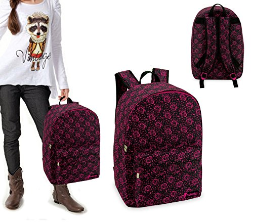 CR612RS Mochila escolar mod. Dark Rose con detalle frontal (43x33x13)