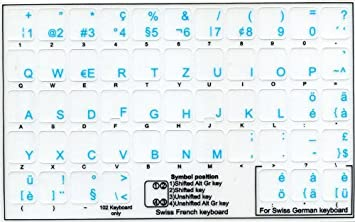 Swiss Transparent Keyboard Stickers with Blue letters for any laptop or keyboard