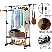 Torix Hanging Clothes Double Pole Garment Rack on Wheels Portable Clothing Storage Rack with 3 Tiers Shelves Extendable Rod Laundry Drying Rack