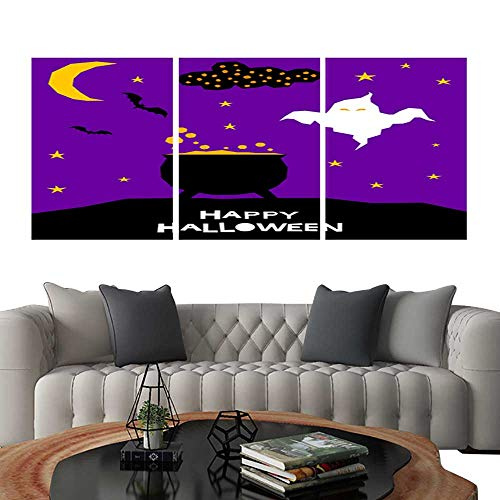 UHOO 3 Piece Wall Art Painting Happy Halloween Card Template Abstract Halloween Pattern for Design Card Party Invitation Poster Album menu t Shirt Bag Print etc 11. Living Room Kitchen 16