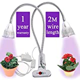 Grow Light for Indoor Plant – Grow Lamp Dual Head Growing Lights Adjustable Gooseneck Full Spectrum LED 10W hydroponic Bulb for House Plants, Seedling, Blooming Fruiting, Office [2018 Upgraded] Review