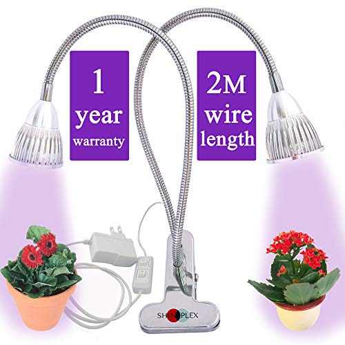 Grow Light for Indoor Plant – Grow Lamp Dual Head Growing Lights Adjustable Gooseneck Full Spectrum LED 10W hydroponic Bulb for House Plants, Seedling, Blooming Fruiting, Office [2018 Upgraded]