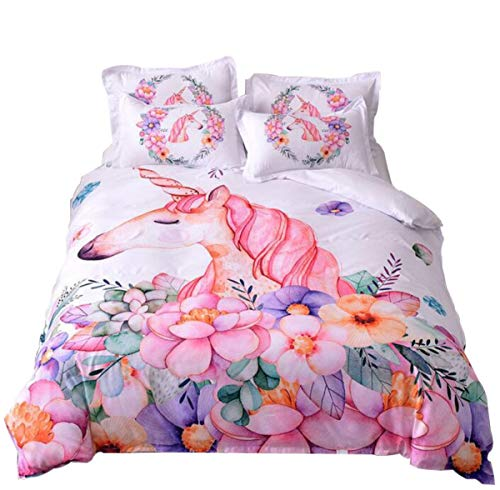 WINLIFE Pink Floral Unicorn Print Duvet Cover Set for Girls Easy Care Zipper Closure Corner Ties Bedding Set Full A