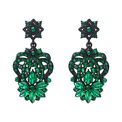 EVER FAITH Marquise Austrian Crystal Vintage Wedding Star Flower Dangle Earrings Green Black-Tone