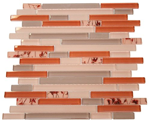 Random Brick Pattern (Glossy Orange and Grey with Flower Pieces Random Brick Pattern Mosaic Tiles for Bathroom and Kitchen Walls Kitchen Backsplashes (Free Shipping))
