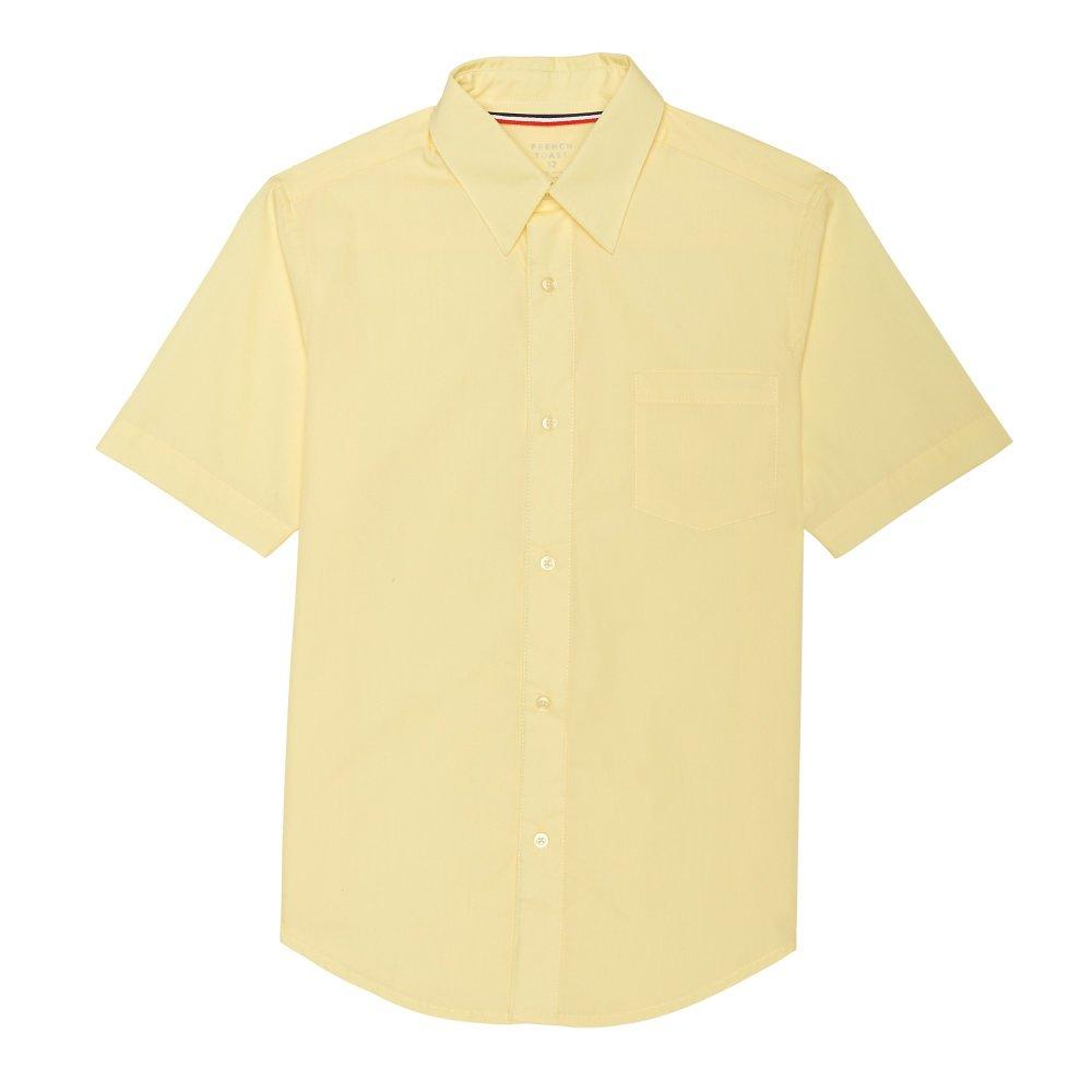 French Toast Boys' Short Sleeve Poplin Dress Shirt, Yellow, 16 Husky