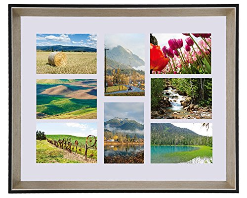 Color Photo Collage - Space Art Deco 16x20 Frame for Eight 4x6 Picture, with White Mat - Multiple Photo Collage Frame - Black Color with Panel Silver Champagne Beveled Edge - Wall Mounting - Real Glass (16x20, 8-Opening)