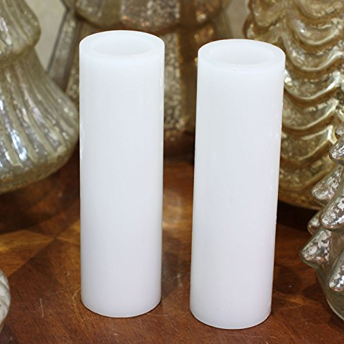GiveU Flameless Led Pillar Candle With Timer, Battery Operated for Celebration Party, White, 1.75x6 Inches, Set of (2 White Leds Batteries)