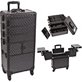 SunRise I3364DMAB Black Diamond 3 Tiers Accordion Trays Professional Rolling Aluminum Cosmetic Makeup Craft Storage Organizer Case and Stackable Trays with Dividers