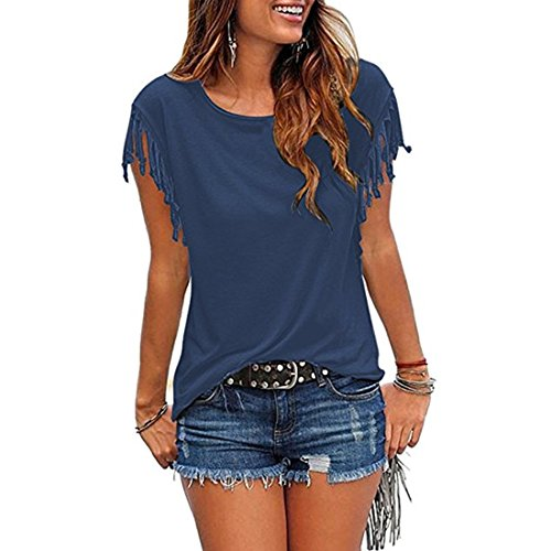 BLACKMYTH Mujer Redondo Color Sólido Tops Linda Borla Casual Blusa Camisetas Azul Marino
