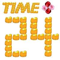 Youngerbaby 24pcs Ámbar Amarillo Parpadeo Sincronización Velas de té con temporizador (6 horas en 18 horas fuera) Sin llama Tealights LED Cera goteada Velas operadas con batería para la fiesta de Navidad Día de Acción de Gracias
