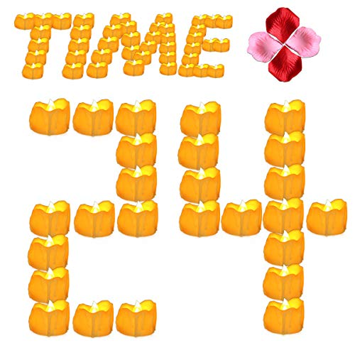 Youngerbaby 24pcs Amber Yellow Flickering Timing Tea Light Candles with Timer (6 Hrs on 18 Hrs Off) Flameless LED Tealights Wax Dripped Battery Operated Candles for Christmas Party Thanksgiving Day