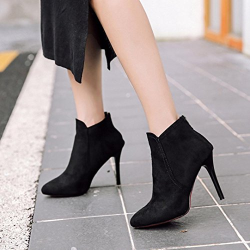 Ankle Boot Shoes Martin Pointed Toe High Black Casual Heels Back Womens Snow Zipper Inkach Boots Thin 5Hzz4O