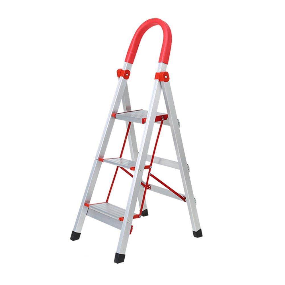 LXLA- 3,4-Step Aluminum Alloy Ladder Stool With Handrail Adult Folding Scissors Ladder For Household,workshop, Garage,Outdoor (Color : Aluminum color, Size : 39×52×108cm)