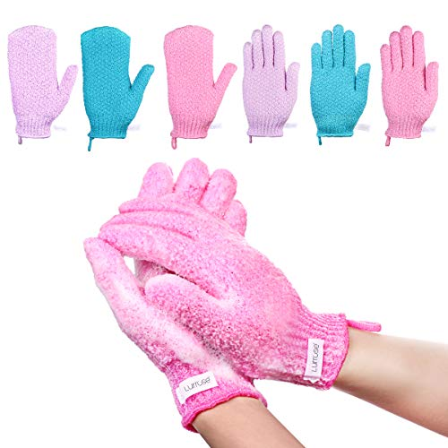 - Lurrose Exfoliating Gloves Bath-Scrubbing Massage Shower Gloves for Men and Women, Dead Skin Cell Remover Body Scrubs, 6 Pairs 3 Colors 2 Types