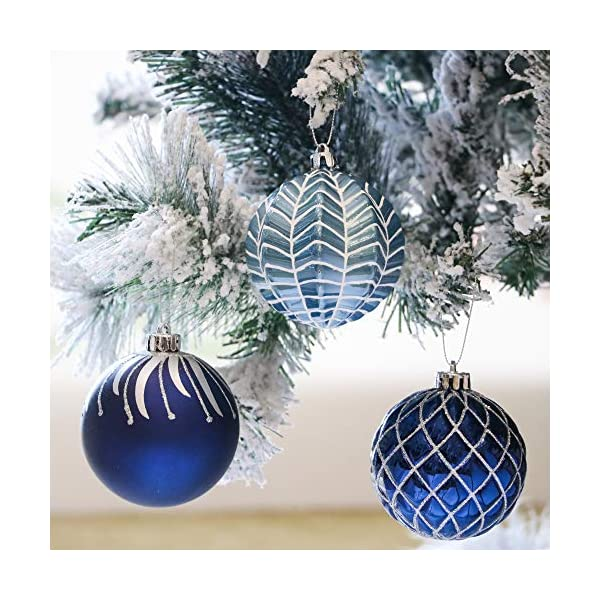 Valery Madelyn Palle di Natale 16 Pezzi 8cm Palle di Natale, Winter Wishes Argento e Blu Infrangibile Palla di Natale Ornamenti Decorazione per la Decorazione Dell'Albero di Natale 4 spesavip